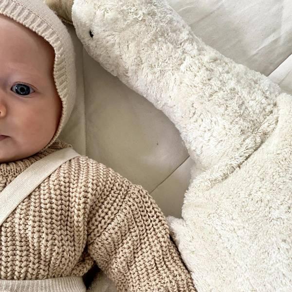Bilde av Baby Strømpebukse Rib med Sele - Silly Silas - Cream Blend