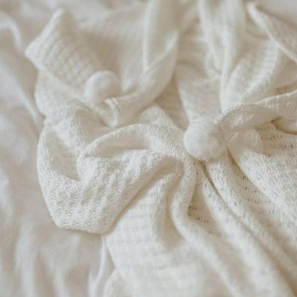 Bilde av Babyteppe Med Hette - 90x90 - Bambus - MyMemi - Ecru