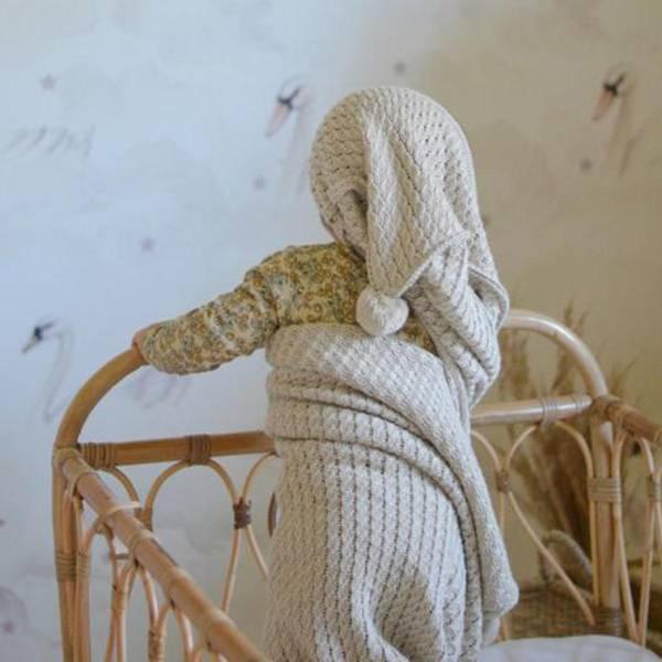 Bilde av Babyteppe Med Hette - 90x90 - Bambus - MyMemi - Beige
