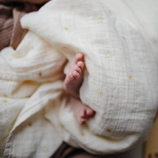 Bilde av Swaddle - 100% Økologisk Musselin -120x120 - Mushie - Sun