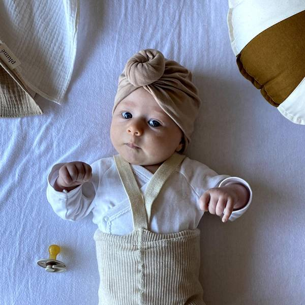 Bilde av Baby Turban med søt donut - Looks by Luks - Lysebrun