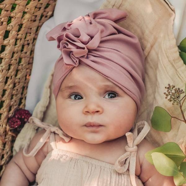 Bilde av Baby Turban med søt knyting - Looks by Luks - Dus Rosa