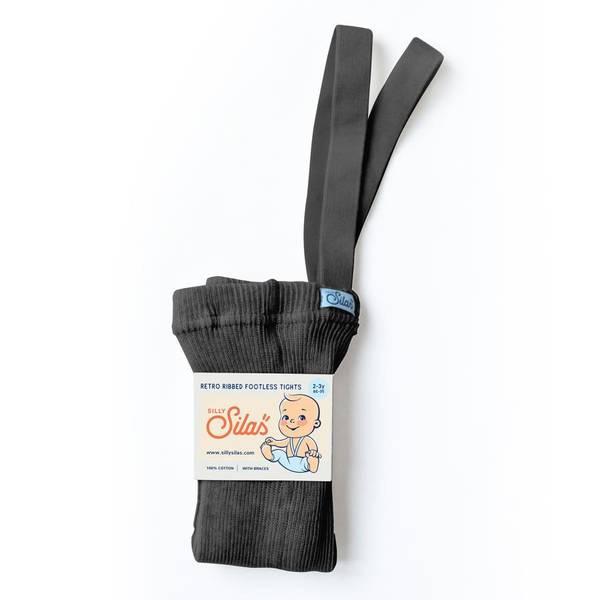 Bilde av Babytights Rib med Sele - Silly Silas - Dark Grey Blend