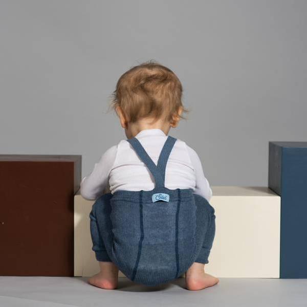Bilde av Babytights Rib med Sele - Silly Silas - Steel Blue Blend