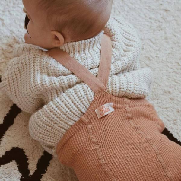 Bilde av Baby Strømpebukse Rib med Sele - Silly Silas - Light Brown