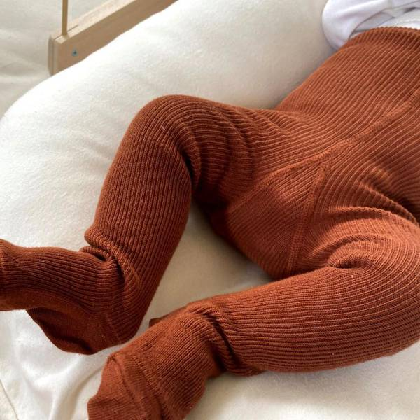 Bilde av Baby Strømpebukse Rib med Sele - Silly Silas - Cinnamon