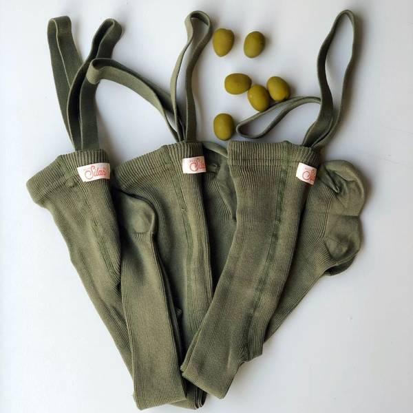 Bilde av Baby Strømpebukse Rib med Sele - Silly Silas - Olive