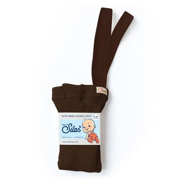 Bilde av Baby Strømpebukse Rib med Sele - Silly Silas - Chocolate