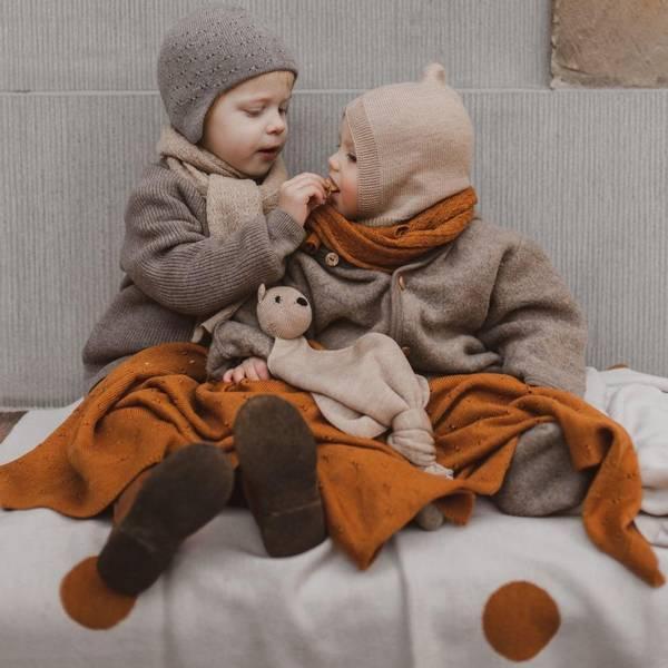 Bilde av Babyteppe - 70x95 - Merinoull - Hvid - Off-white/Rust -