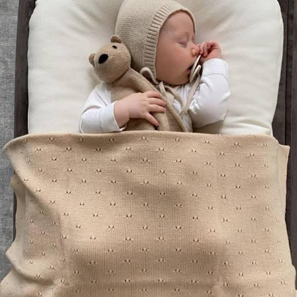 Bilde av Babyteppe - 70x95 - Merinoull - Hvid - Oat - Bibi