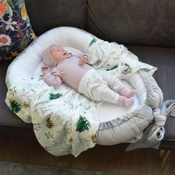 Bilde av Babynest Fløyel - Babyly - Grå