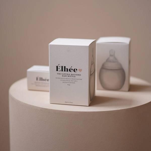 Bilde av Tåteflaske i Silikon - Elhee - 240ml - Sand