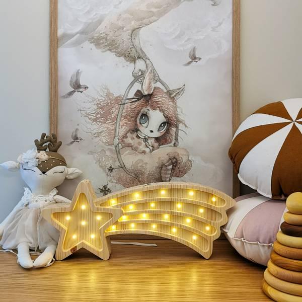 Bilde av Nattlampe Lumimi - Furu & LED - Stjerneskudd
