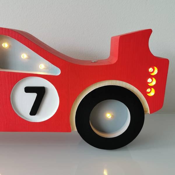 Bilde av Nattlampe Lumimi - Furu & LED - Racerbil rød
