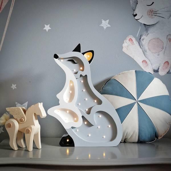 Bilde av Nattlampe Lumimi - Furu & LED - Rev grå