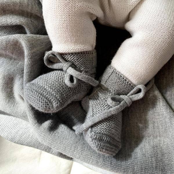 Bilde av Babytøfler - Merinoull - Hvid - Grey Melange
