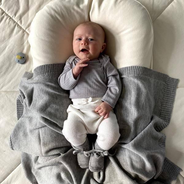 Bilde av Babyteppe - 70x95 - Merinoull - Hvid - Grey Melange - Didi