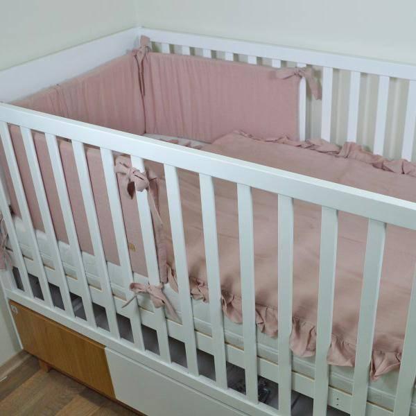 Bilde av Sengekant Baby - Sprinkelseng - Lin - Babyly - Dus Rosa