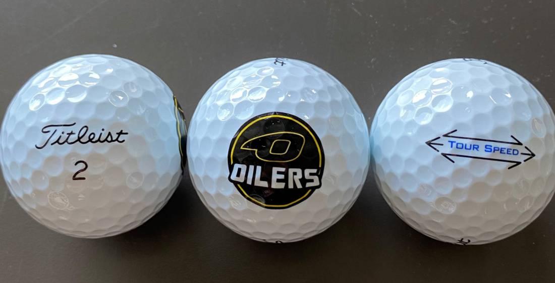 Golfball med Oilers logo - Titleist Tour Speed-12 Golfballer