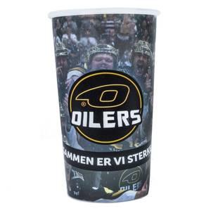 Bilde av Plastkopp med Oilerslogo og laget bak