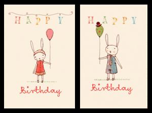Bilde av Kort - Happy Birthday jente og gutt fra Maileg
