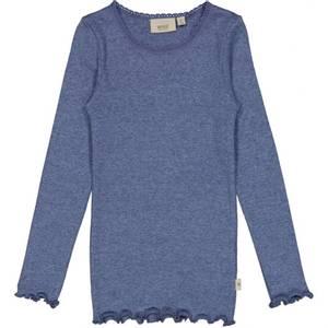 Bilde av Jente genser lace i blue melange fra Wheat