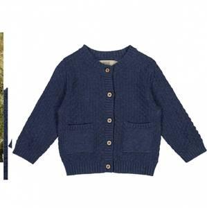 Bilde av Baby gutt strikke cardigan i blue melange fra Wheat