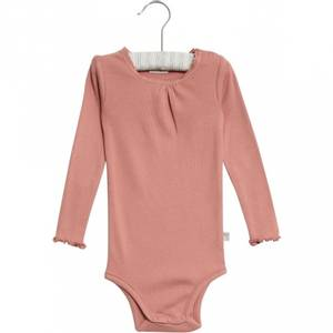 Bilde av Baby jente body rib lace i soft peach rose fra Wheat