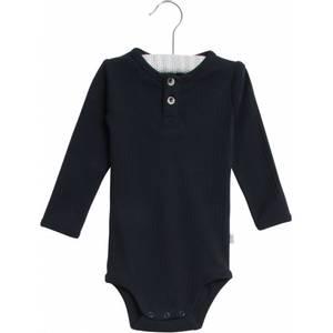 Bilde av Baby body med pen knappestolpe i navy fra Wheat
