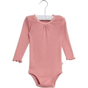 Bilde av Baby jente body rib lace i soft rouge fra Wheat