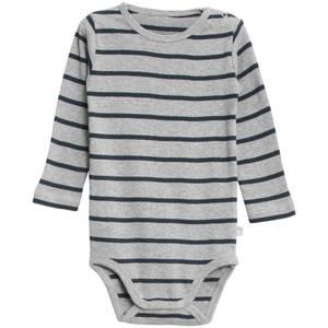 Bilde av Baby basic body stripete i melange grey navy fra Wheat