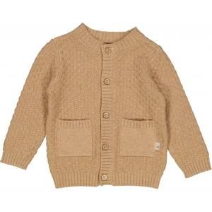 Bilde av Baby gutt strikke cardigan i sand melange fra Wheat