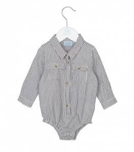 Bilde av Baby gutt skjorte body i dress blue fra Noa Noa