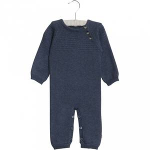 Bilde av Baby gutt heldress sailor knit greyblue melange fra Wheat