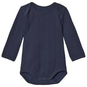 Bilde av Baby gutt ull body dress blue ensfarget fra Noa Noa