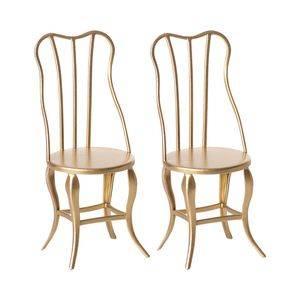 Bilde av Metall vintage stoler - 2pk i gull fra Maileg