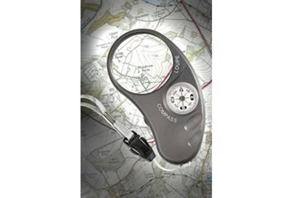 Bilde av Lommelupe med lys og kompass