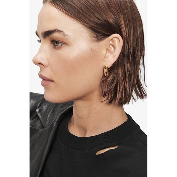 ANINE BING Link Drop Earrings Gold