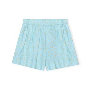 Bilde av Ganni Printed Cotton Poplin Shorts Corydalis Blue