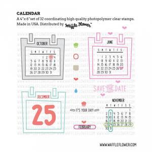 Bilde av Waffle Flower Calendar Stamp Set