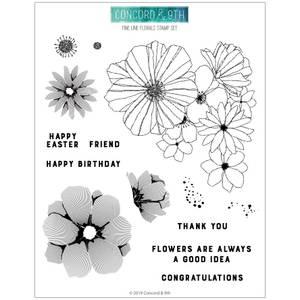 Bilde av Concord & 9th Fine Line Florals Stamp Set