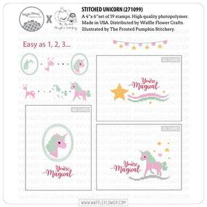 Bilde av Waffle Flower Stitched Unicorn Stamp Set