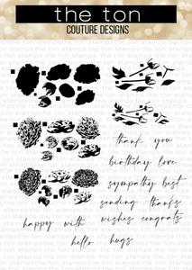 Bilde av The Ton Grouped Fresh Peonies stamp & die bundle