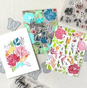 Bilde av Pinkfresh Studio Embroidered blossoms stamp set
