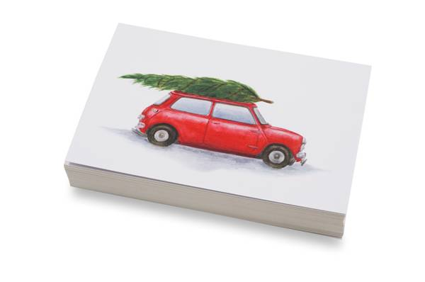 Bilde av 50 stk   Rød bil med juletre   10x15 cm