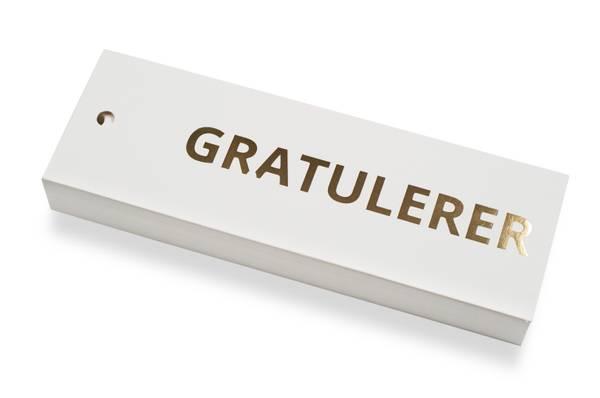 Bilde av 50 stk | Gratulerer | 5x15 cm | Gullskrift