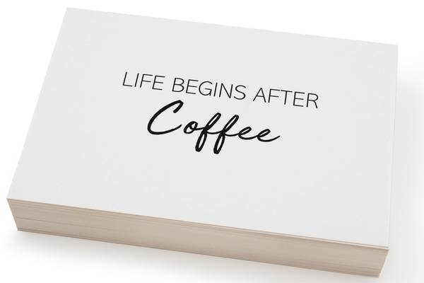 Bilde av 50 stk | Life begins after coffee | 10x15 cm