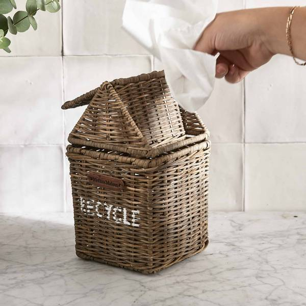 Rustic Rattan Recycle Mini Bin