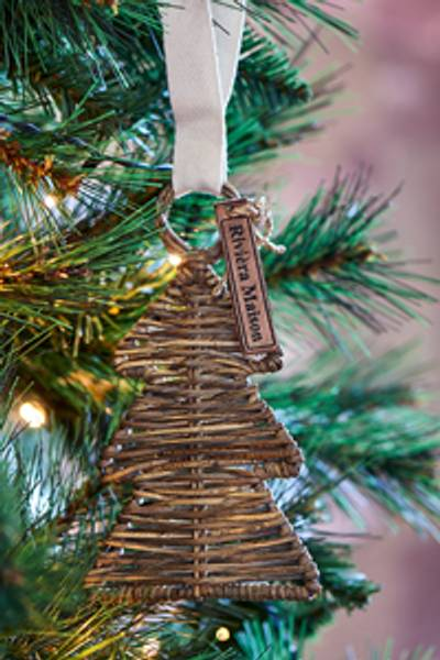 Rustic Rattan Christmas Hanger Tree