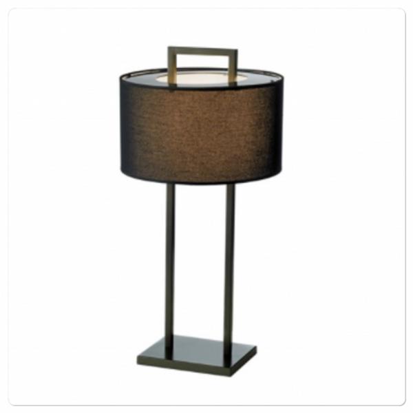 Aruba Bordlampe H75cm, Svart, 2 ben, svart rund skjerm